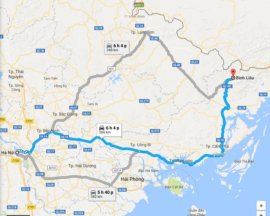 Bản đồ di chuyển Hà Nội - Bình Liêu