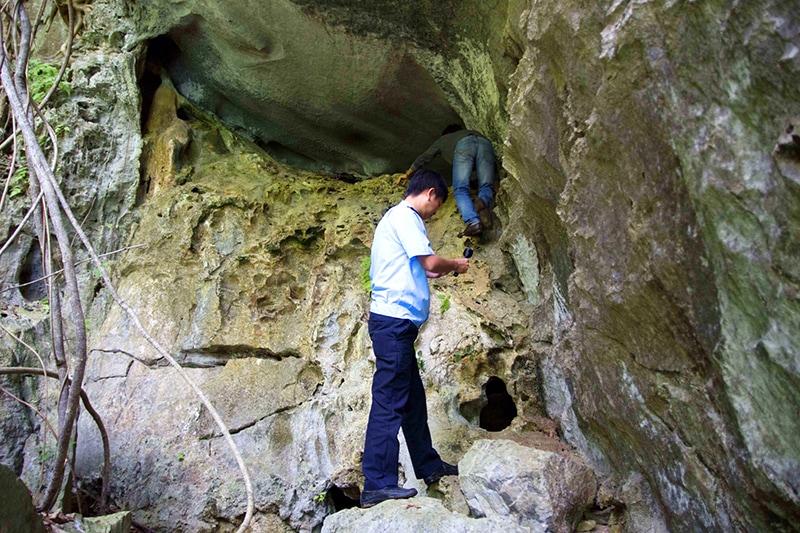 hang cống đầm vịnh hạ long - Cửa hang chênh vênh, chỉ rộng chừng 3m.